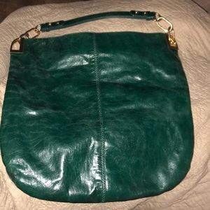 Badgley Mischka Large green leather hobo bag